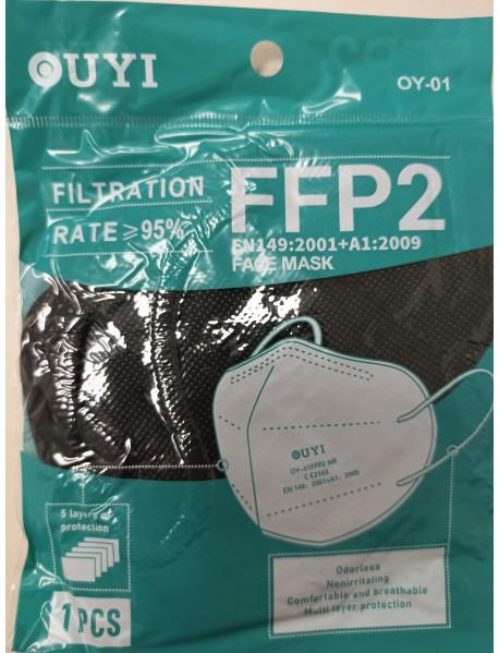 Čierny ochranný respirátor FFP2 UYI 1ks